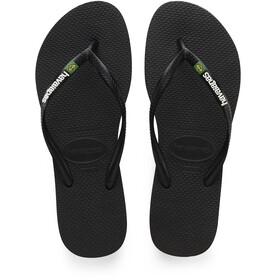 havaianas Slim Brasil Logo Sandaler Damer, black